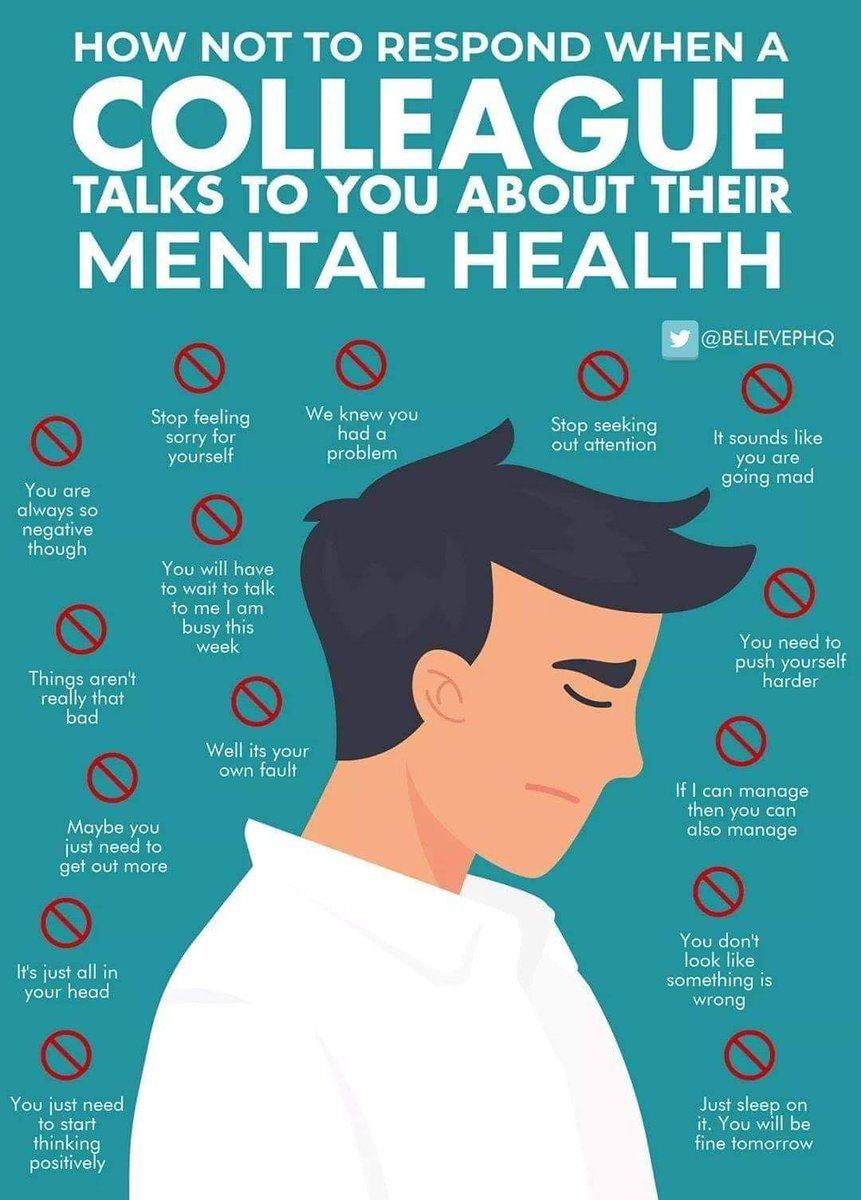 How NOT to respond when someone talks to you about their mental health 💜💜💜 #YouMatterAlways #mentalhealthstigma #compassionatecommunities #betheonewhocares #bekind #ifyoucanbeanythingbekind #kindnessisalwaysinseason https://t.co/rz6GXc9rGQ