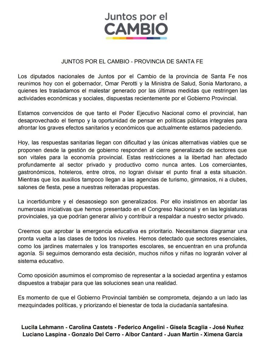 Comunicado oficial de los diputados y diputadas nacionales de @juntoscambioar de la Provincia de Santa Fe https://t.co/Hn6sBGLUfF