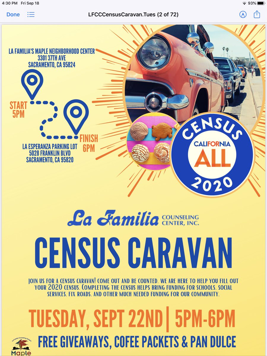 Join Us! 🙌🏾For our last effort to get everyone counted for the 2020 Census in Sacramento!🚙🚗 https://t.co/nJmt7YgOO7