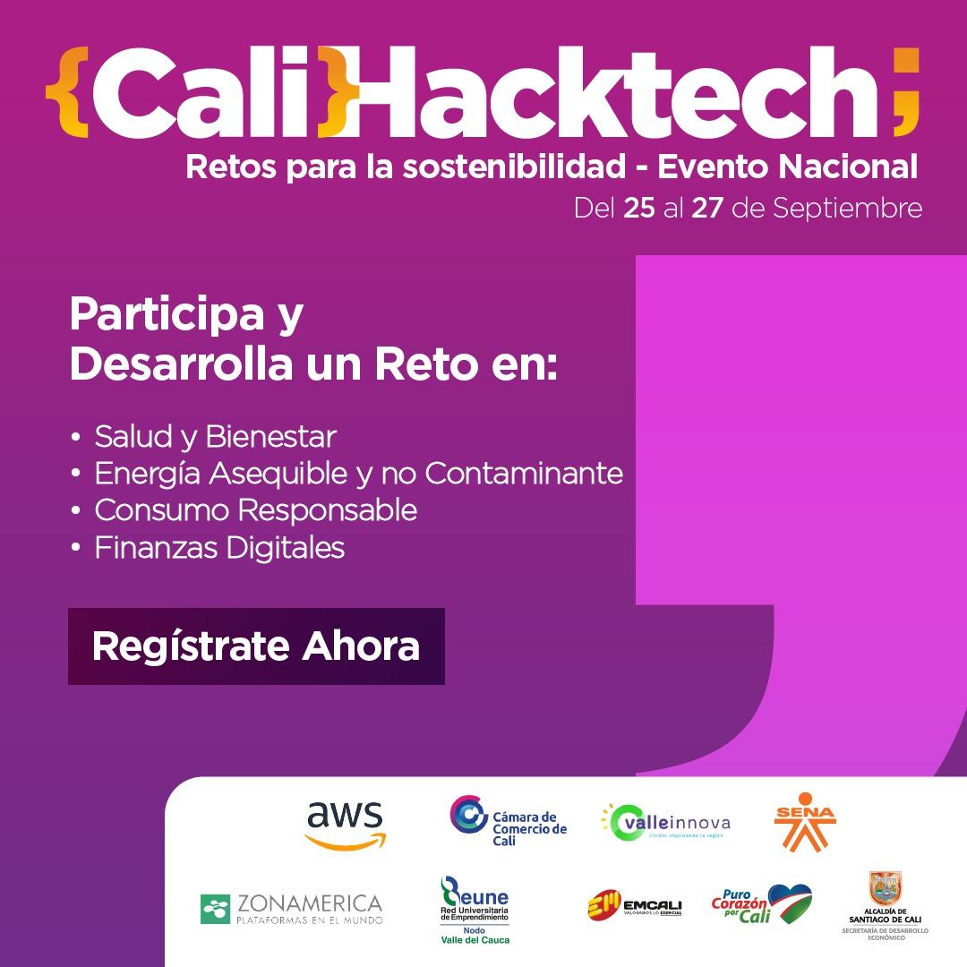 🧑💻¡Conectáte con la transformación digital y la sostenibilidad! Vuelve a Cali HackTech 2020, la competencia de innovación con la que buscamos resolver retos de sostenibilidad en #Cali a través de Ciencia, Tecnología e Innovación.  Registrate AQUÍ → https://t.co/wB1dy2PvJ6 https://t.co/KTA7mBCbuD