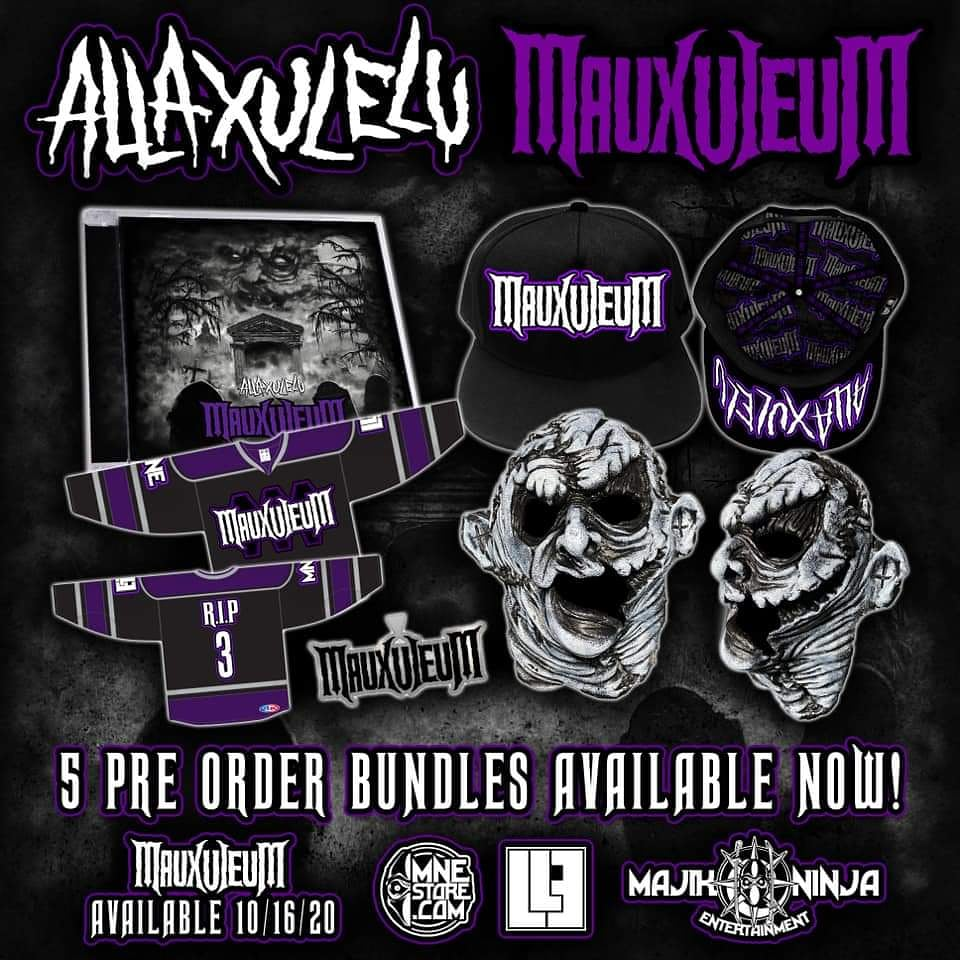 Grab Your #preorderbundle While Ya still can From #theunholytrinity #allaxulelu #brandnew Album #mauxuleum Drops 10/16/20 #axe #axeisfamily #majikninjaent #twiztidshop #MNE2020 https://t.co/niM8Y9dHJW