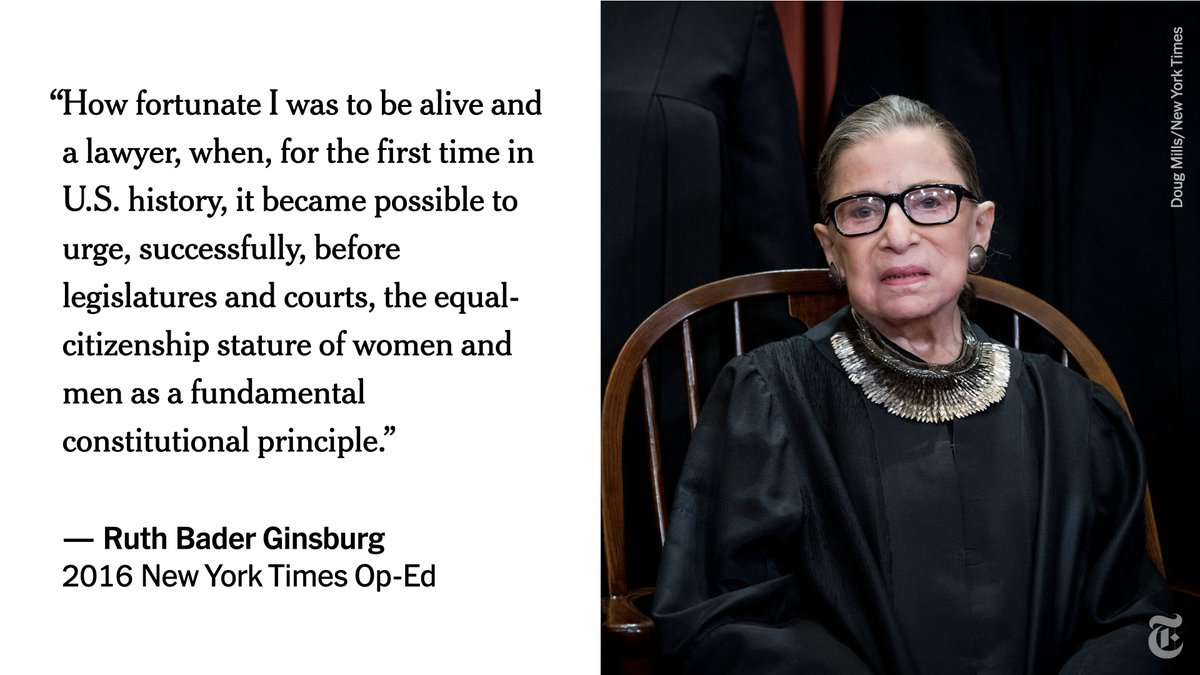 Ruth Bader Ginsburg, the second woman to serve on the Supreme Court and a pioneering advocate for women's rights, who in her ninth decade became a much younger generation's unlikely cultural icon, died on Friday. She was 87. https://t.co/AnuKivPxRE https://t.co/IE9PxsIy4k