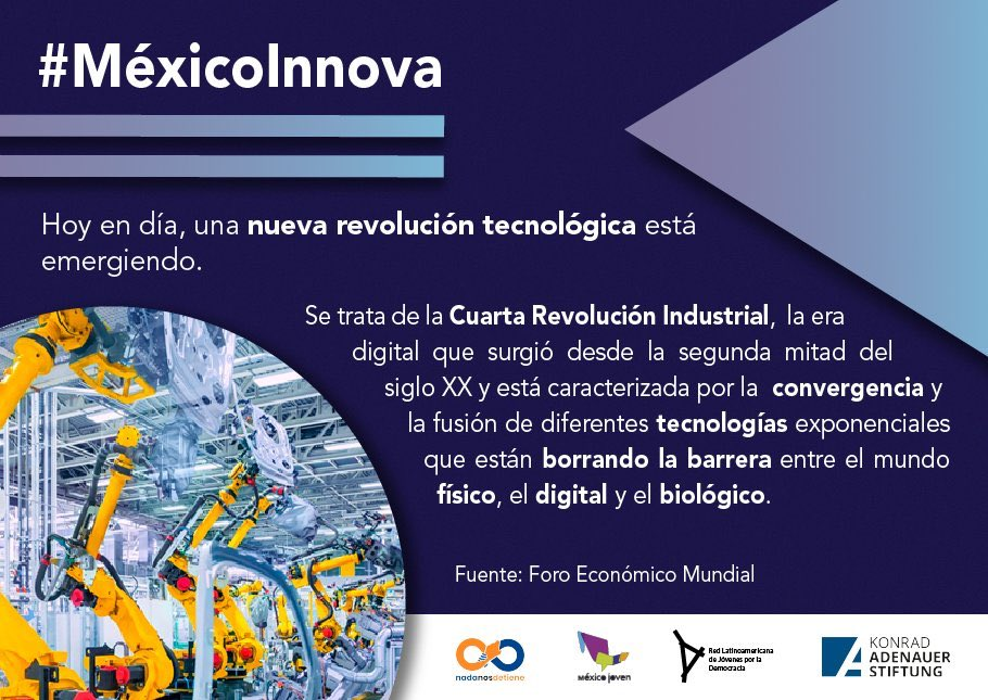 #MéxicoInnova 🇲🇽🤯  💡Las nuevas #TecnologíasExponenciales están modificando los paradigmas de comunicación, producción y consumo. 📲💻🛒📤  ⚡️ #Serie impulsada por la #KASMéxico 🇩🇪🤝🇲🇽 en colaboración con @MXesJoven, @JuventudLAC_MX, @NadaNosDetiene   #DesarrolloTecnológico https://t.co/gdo2qIQWje