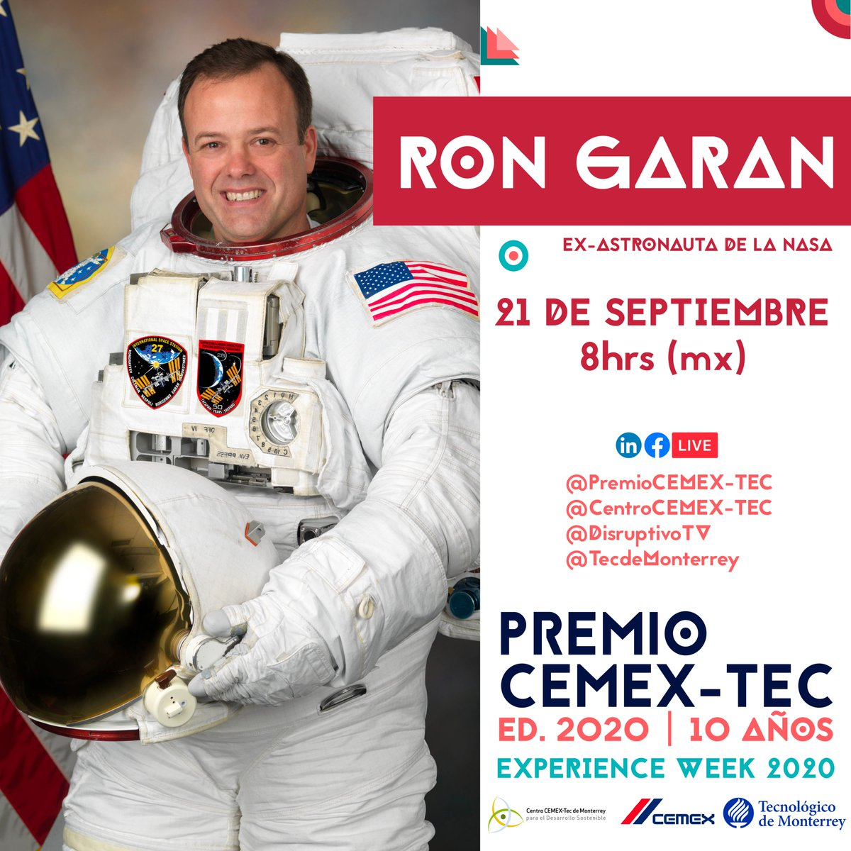 Join us at the CEMEX-TEC Award onboarding event, were we will recognize the 33 winner project of the 2020 award edition, and hear a keynote by @Astro_Ron, former NASA astronaut. https://t.co/Il6dA8v75S