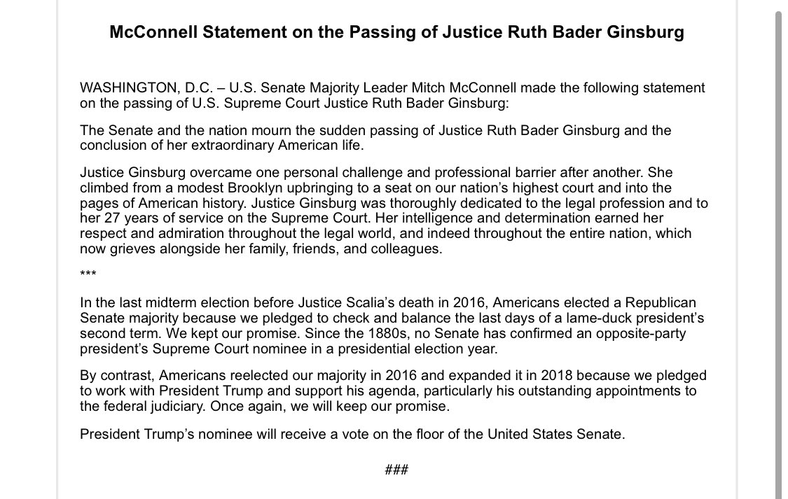 """Senator McConnell in a new statement on the passing of Justice Ginsburg: """"President Trump's nominee will receive a vote on the floor of the United States Senate."""" https://t.co/Ll70aFnaYA"""