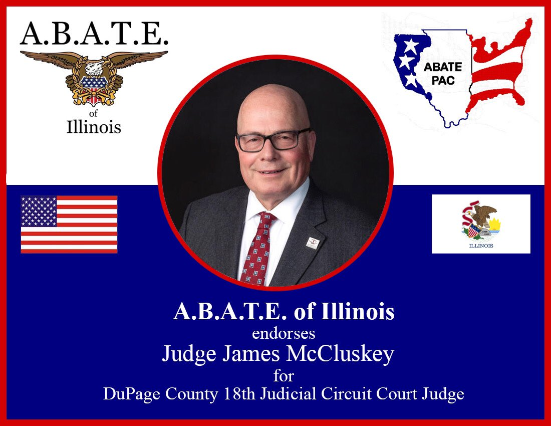 .@JudgeMcCluskey is a great supporter of A.B.A.T.E. of Illinois. To all bikers in #DuPageCounty, make sure he's on your radar for voting! #twill #Illinois @DuPageCountyGOP #ABATE #ABATEofIllinois #Vote #Vote2020 🇺🇸 https://t.co/4R5wD5PiQO