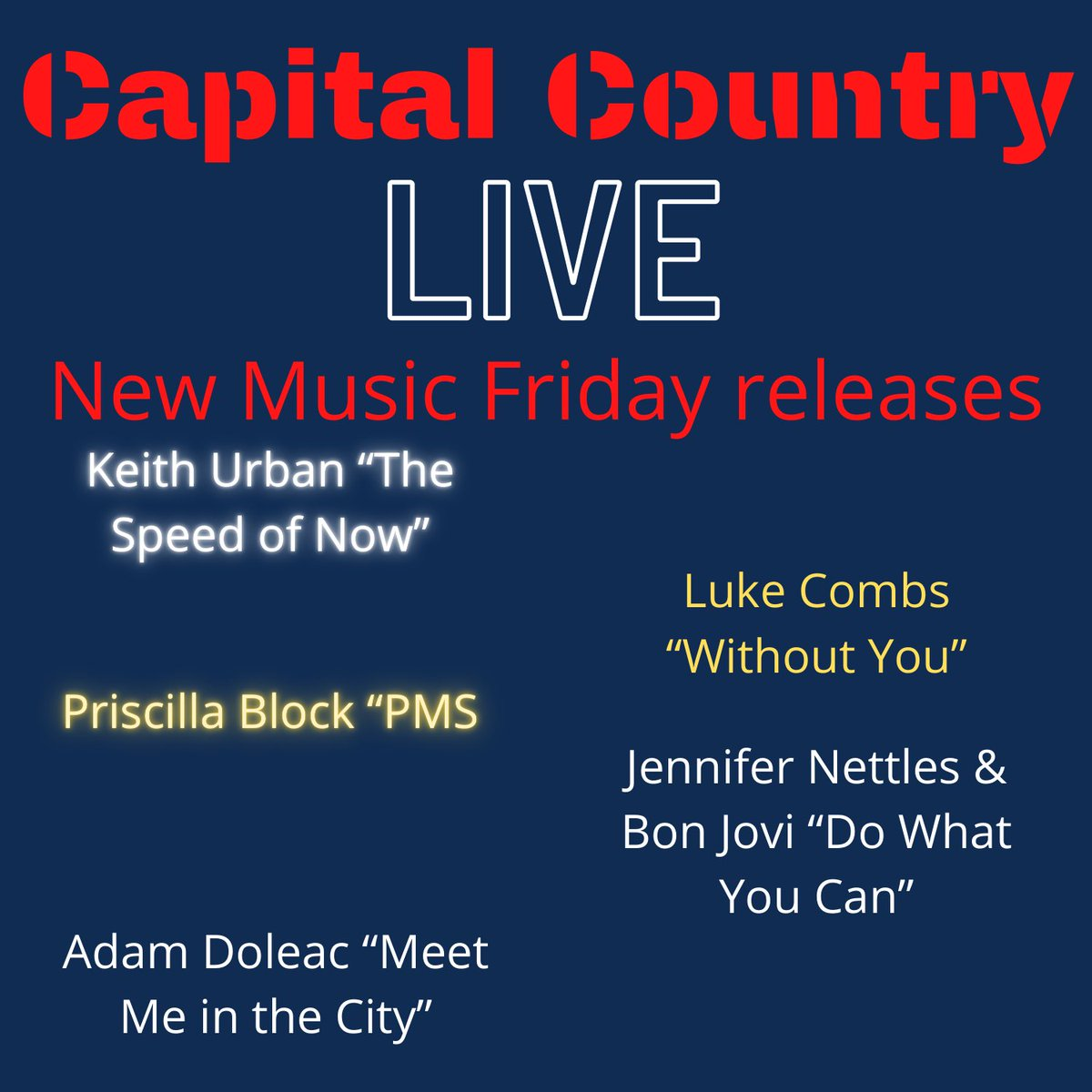 Better. Late. Than. Never. OK. #NewMusicFriday featuring #Newalbum from @KeithUrban #THESPEEDOFNOW  Also @lukecombs #withoutyou @priscillablock #pms @JenniferNettles @BonJovi #DoWhatYouCan @AdamDoleacMusic  #meetmeinthecity  #NewRelease #countrymusic #capitalcountrylive https://t.co/tx0ofkfG5C