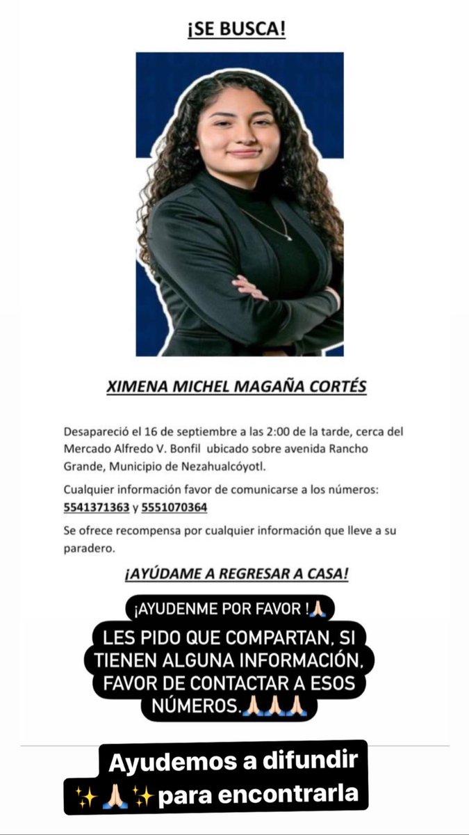 Ayudemos a que aparezca Ximena Michelle Magańa Cortés RT 🙏🏻✨ https://t.co/EirCCX7Teg