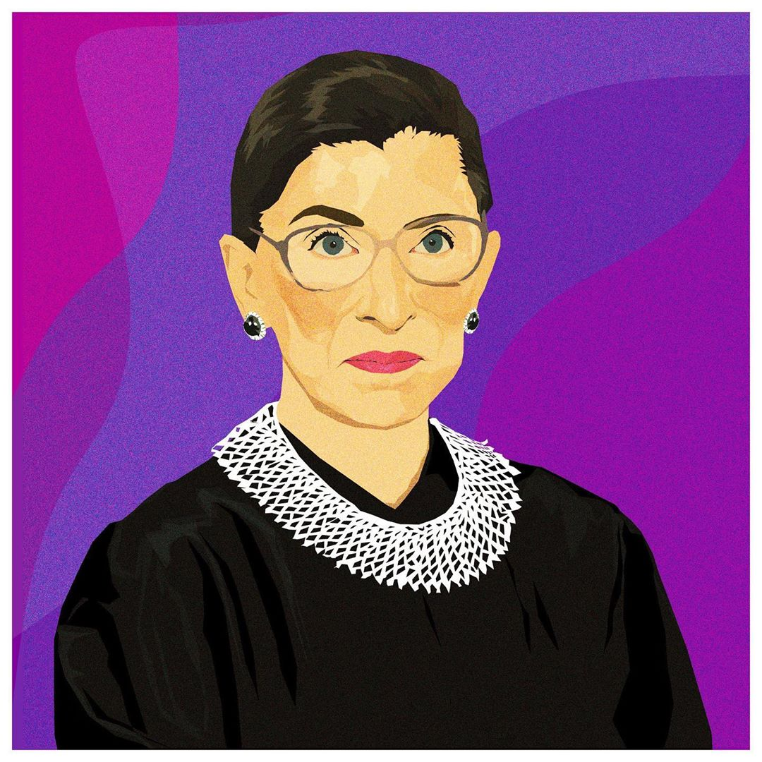 """Women belong in all places where decisions are being made."" - Justice Ruth Bader Ginsburg #RIPRBG   Art by @MonicaAhanonu  https://t.co/72oXCAx7Zz https://t.co/mi5RbhYSU9"