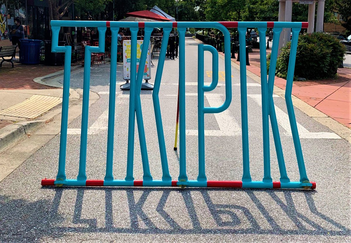 We don't love traffic cones so the Takoma Streetery just got a stylish new traffic barrier! The TKPK sculpture by local artist Howard Connelly was commissioned by @MainStTakoma & the City's Arts and Humanities Dept. Take a photo w/#TKPK at the corner of Carroll Ave & Laurel Ave. https://t.co/NkY1s6seuz