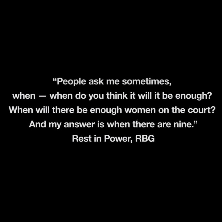 A supreme champion of gender parity, LGBTQ+ rights and women's choice, Ruth Bader Ginsburg inspired generations with her unwavering commitment to give every American the right to freedom and equality. Rest in Power, RBG.