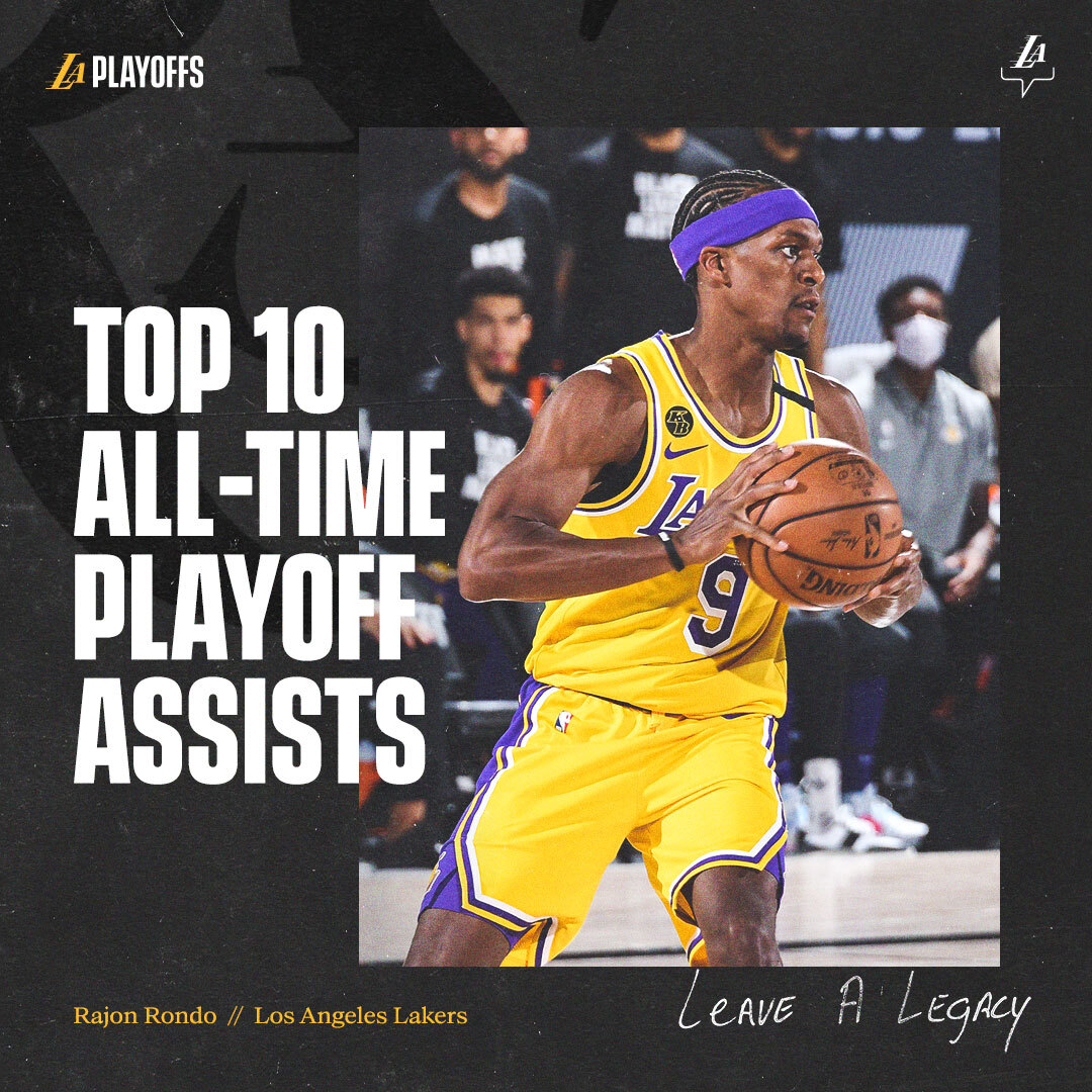 Congrats to @RajonRondo for passing Michael Jordan and joining the all-time top 10 for playoff assists 🙌 https://t.co/52JGlICZSm