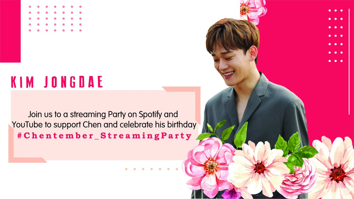 [Streaming Party] Join us to a streaming party  to celebrate Chen's birthday ⚡💛  📌Hashtag: #.Chentember_StreamingParty 📌Start: 8 PM KST   We will share a playlist on Spotify & recommendations for YouTube!   #AlwaysTogether #CHEN #JONGDAE #첸 #종대 #EXO @weareoneEXO https://t.co/zSDSqsjNtL