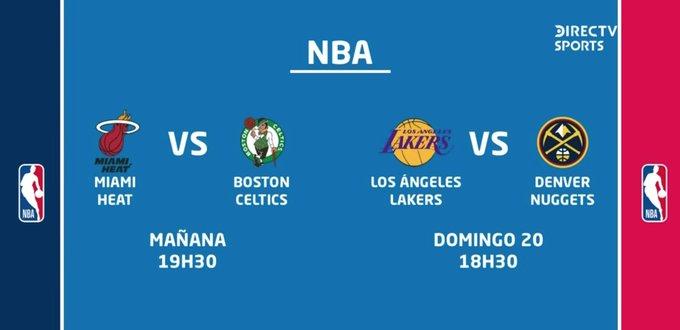 @PattyDuranB No ya son 2 finales de conferencia los que ganen ya están en la final de la NBA y son Miami Heat vs. Boston Celtics y los Lakers vs. Denver Nuggets y pasa a la gran final quien tenga una ventaja de 3 a 4 juegos ganados aquí el cuadro de conferencia cortesía de @DIRECTVEcuador https://t.co/WpZlqSsI7c
