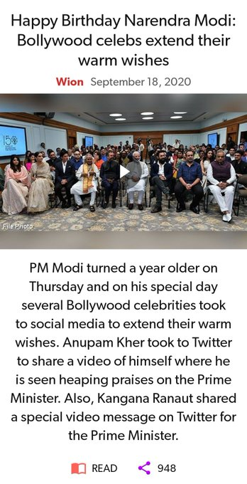 Happy Birthday Narendra Modi: Bollywood celebs extend their warm wishes   via NaMo App