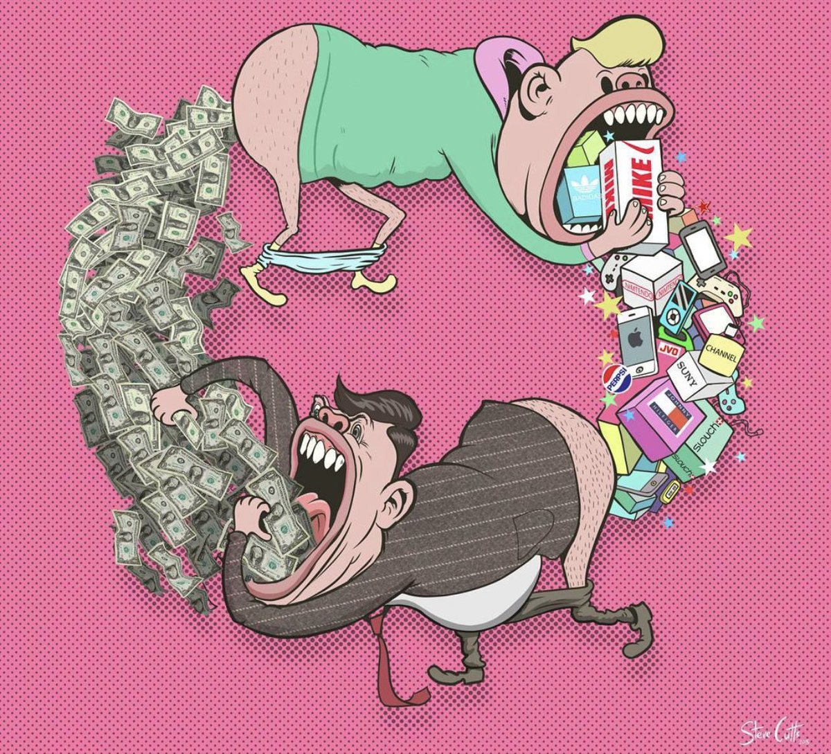 Don't be this.  It's killing us all.  Art by Steve Cutts.  #consumerism #cancer #ClimateEmergency #saveourplanet https://t.co/AH4rz65H1v
