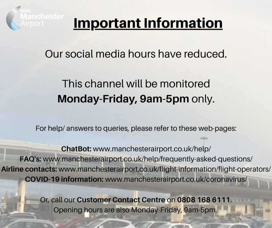 Important information regarding our social media hours. Visit these web-pages for help – ChatBot: https://t.co/kgUMqX0kGv, FAQ's: https://t.co/L224qws01i, airline contacts: https://t.co/PxWW9GQ00N and COVID-19 information: https://t.co/bO5AHqRfdh. Thank you and stay safe. https://t.co/9hF9iqVQPx