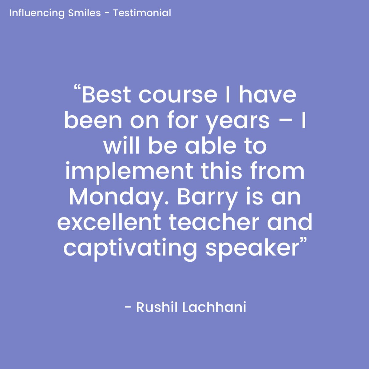 A testimonial from my Influencing Smiles course!  New dates for 2021 coming soon!!  #Dentaltraining  #Communication #Dentalsalestraining  #NLPindentistry #Positivemindset #Dentalcoach #Theconfidentdentist #Confidentdentist #Teamcoaching #Greatcommunicaton  #influencingsmiles https://t.co/5DIJf1Zjzv
