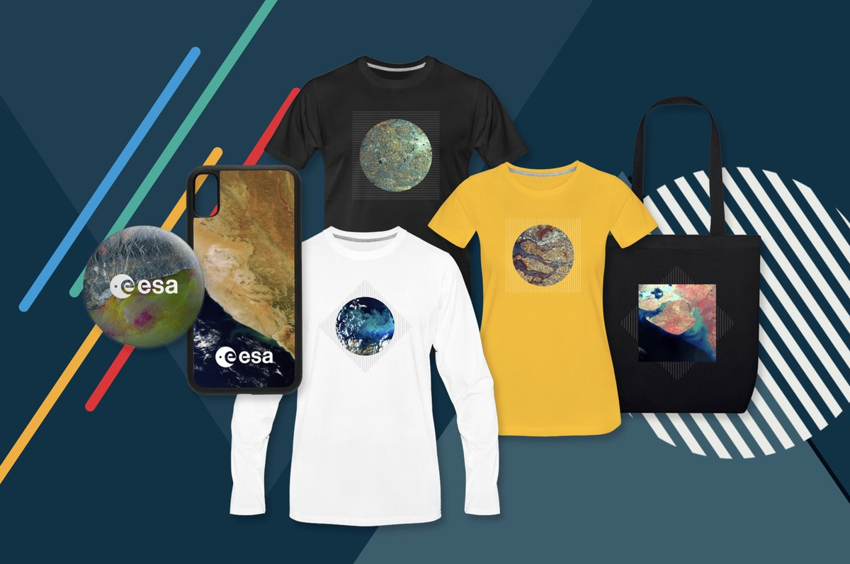 ESA's @esa_eo #Envisat satellite operated in orbit for 10 years.  This satellite's incredible images of our planet #Earth inspired these T-shirts, pins, phone covers and more. ⚠️ AND 15% OFF everything from #ESAonDemand 18-22 Sept 👉 https://t.co/jrqV2oeeMc #PhiWeek https://t.co/ZuHsvEDASm