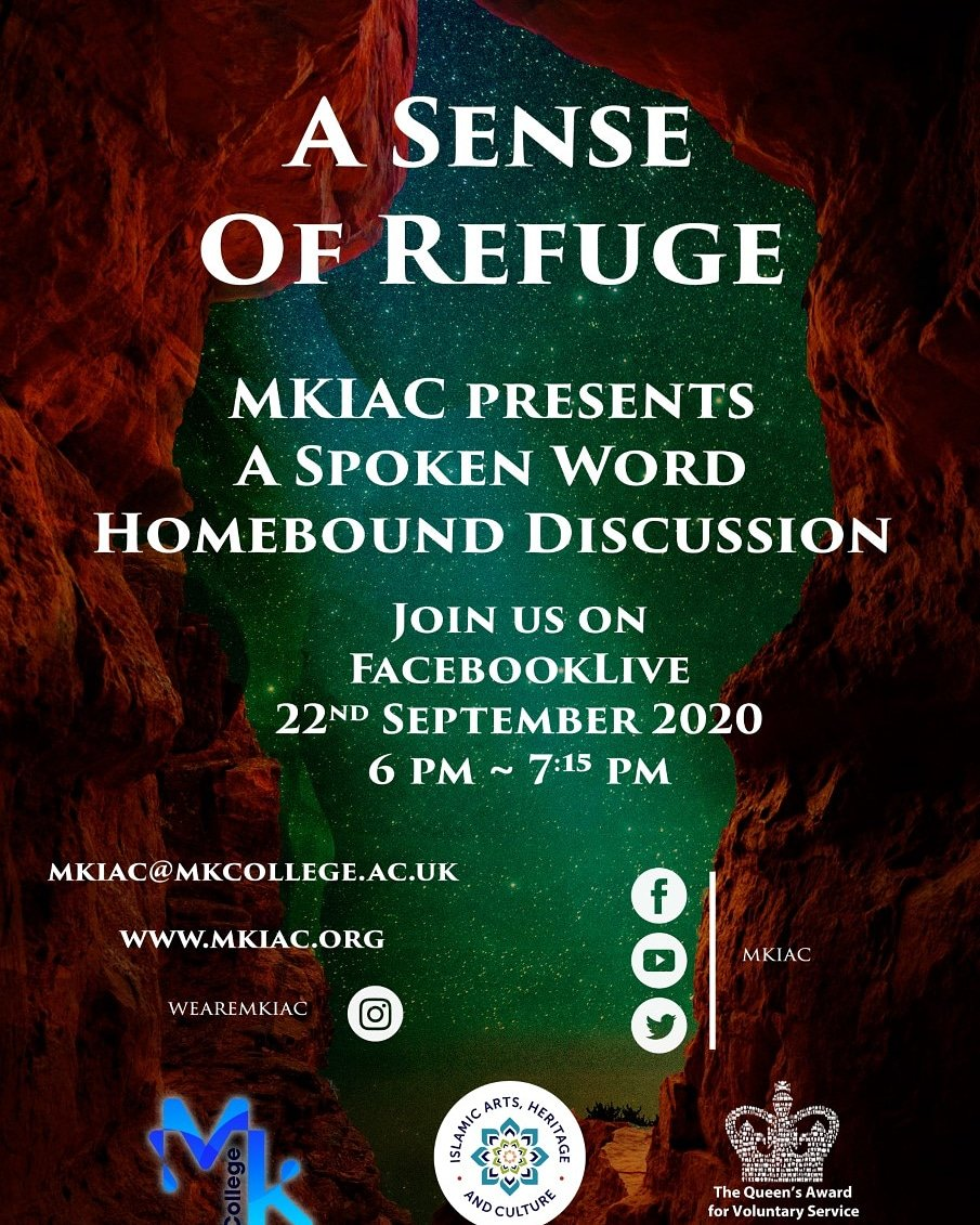 Join us for a Spoken Word Homebound discussion on A SENSE OF REFUGE.  FACEBOOK LIVE TUESDAY 22 SEPT 2020 18.00PM TO 19.15PM  Artwork by @samirmmalik The Light of Abraham in Arabic, Greek and Hebrew. https://t.co/wQEdCzWYjM