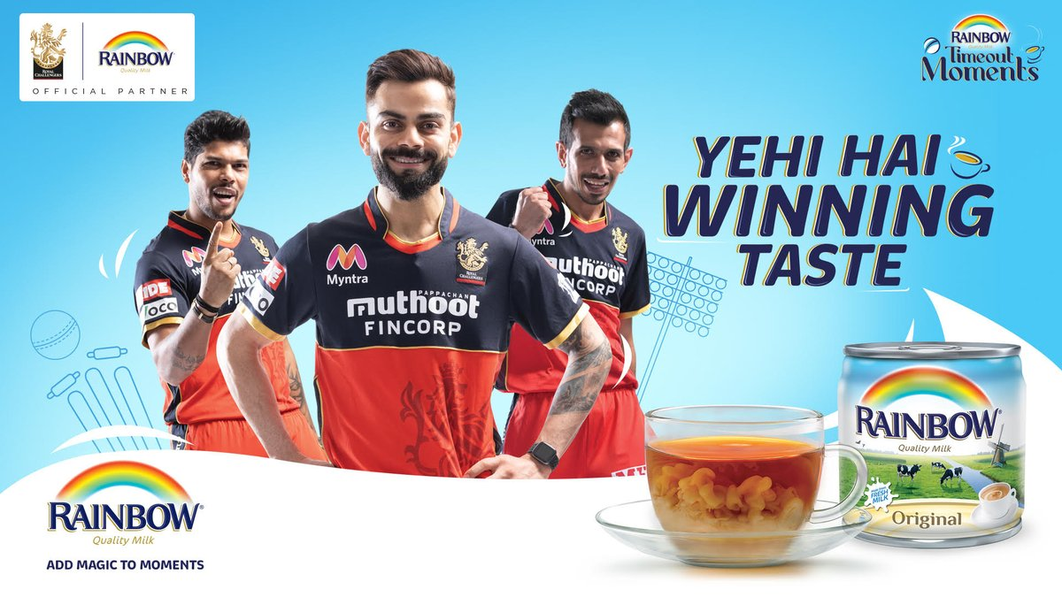 We are excited to have @RainbowMilk as our Official Milk Partner in the Middle East.   Yehi hai winning Taste!   #PlayBold #IPL2020 #WeAreChallengers https://t.co/dfb8oC6lT2