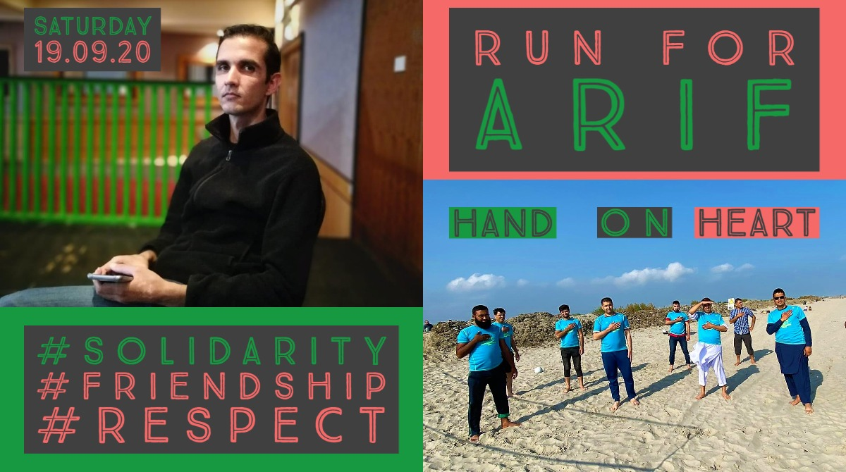 Please don't forget to #RunForArif today. Hold your hand on your heart & post a picture using the hashtag and tag us in your post. You don't have to be a Sanctuary Runner to take part. Thank you #Solidarity #Friendship #Respect @IrishRefugeeCo @NascIreland @ShamimMalekmian https://t.co/8puUUQAdMj