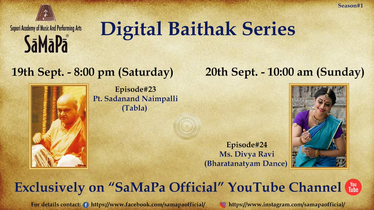 Here's sharing this weekend's schedule (tonight & tomorrow morning - Saturday & Sunday, 19th & 20th Sept) for SaMaPa® Digital Baithak:  Exclusively on: https://t.co/4yKSyNadaf  #samapa #sopori #samapadigital #digitalconcert #OnlineConcert #santoor #indianclassicalmusic https://t.co/2MuvQphhwU
