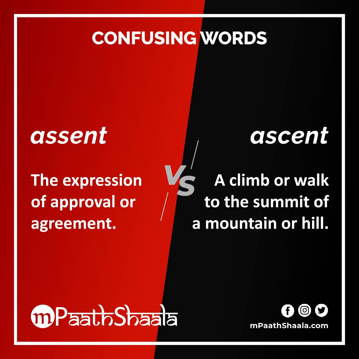 #ConfusingWords assent versus ascent . #Vocabulary #English #EnglishVocabulary #IELTS  #TOEFL #Words #Spelling #Learning #Education #WordNerd #Homophones #Homonyms https://t.co/Kh8ObLEzP9
