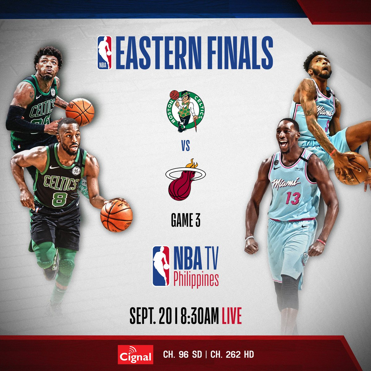NBA Playoffs on NBA TV Philippines Schedule for September 20:  Heat vs Celtics (Eastern Conference Finals - Game 3)   8:30AM LIVE Replays at 2PM and 8PM  #StaySafeStayAwesome  #LiveAwesome  #WholeNewGame  #NBAPlayoffs  #NBAonCignal https://t.co/Za5ALu6nPg