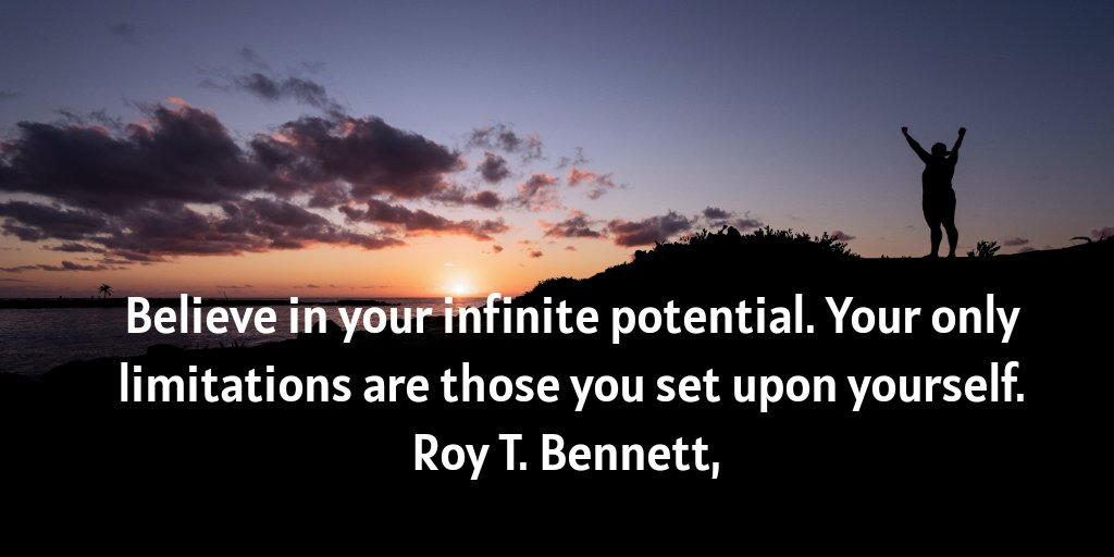 """""""Believe in your infinite potential. Your only limitations are those you set upon yourself.""""  Roy T. Bennett,  #positivequotes #positivemindset https://t.co/EbDzLPmd20"""