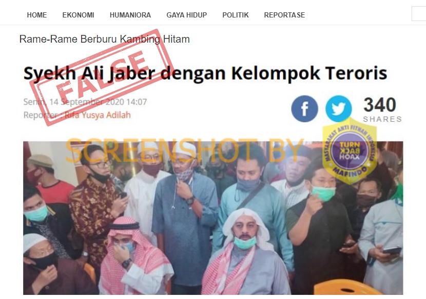 "[SALAH] Foto judul berita "" Syekh Ali Jaber dengan Kelompok Teroris""  Judul berita dipotong dari artikel berita https://t.co/IyZ5kCo5Iz yang berjudul ""Polisi Belum Temukan Kaitan Penusuk Syekh Ali Jaber dengan Kelompok Teroris""  Selengkapnya di https://t.co/aNkQzSFUeQ #LawanHoax https://t.co/DfszujsPv3"