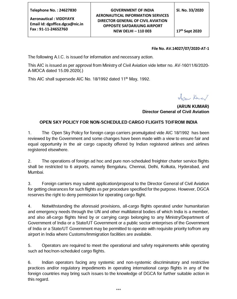 The @DGCAIndia via Aeronautical Information Circular (AIC) 33/2020 dated 17th Sept 2020 has restricted operations of foreign ad-hoc and non-scheduled freighter charter service operators to six cities in India namely Bengaluru, Chennai, Delhi, Kolkata, Hyderabad and Mumbai.  1/3 https://t.co/kne2Otulxu