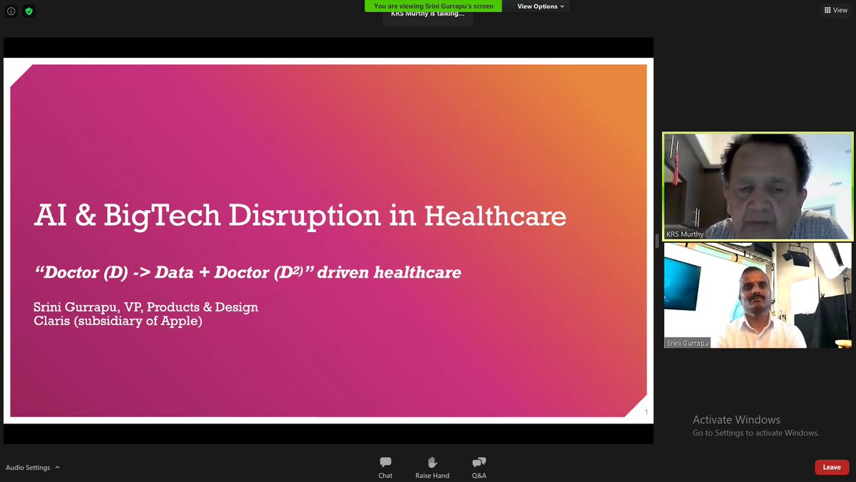 Thrilling General #Keynote: BigTech Disruption in #Healthcare By @srini_gurrapu Vice President, @ClarisOfficial (Subsidiary of Apple)) at Global #artificialintelligence Virtual Conference #Sep 16-18, 2020 https://t.co/WMxzKRYyNq