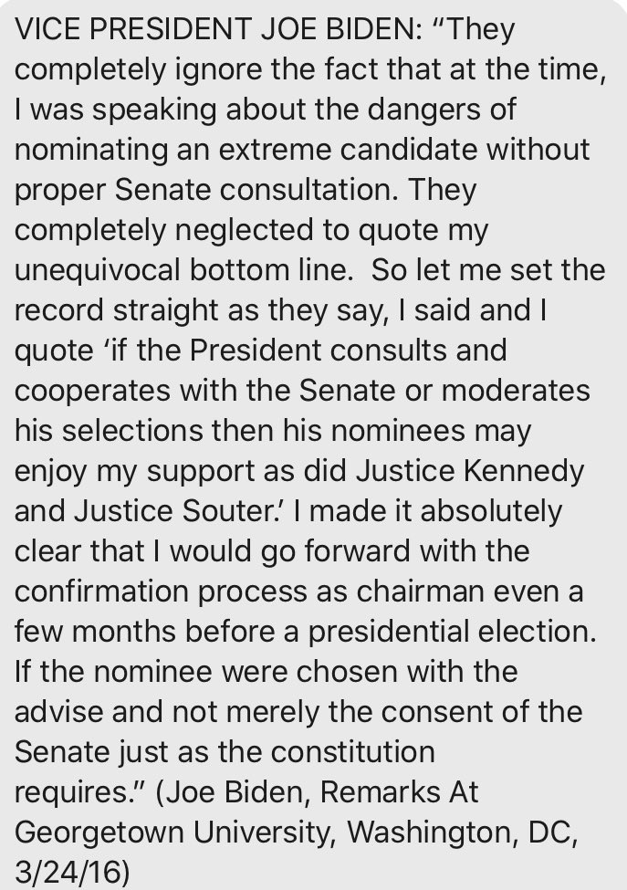 Joe Biden in 2016 on how it's fine to nominate even just before an election https://t.co/wxLOSqxwMD