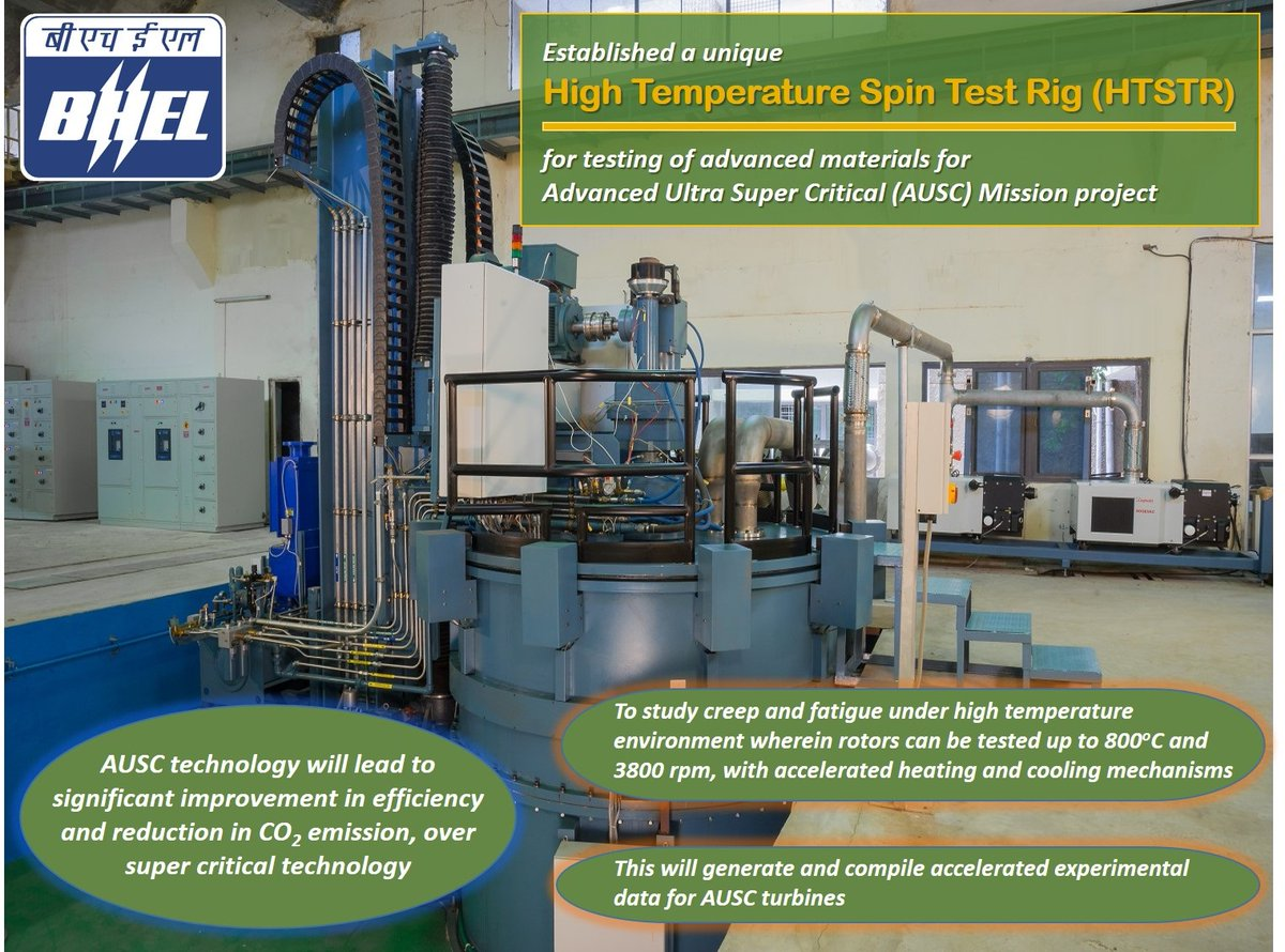 #BHEL establishes High Temperature Spin Test Rig for AUSC Mission Project @IndiaDST  @heindustry @PrakashJavdekar @MinOfPower  @PIB_India @power_pib https://t.co/9zYQq4OOQb