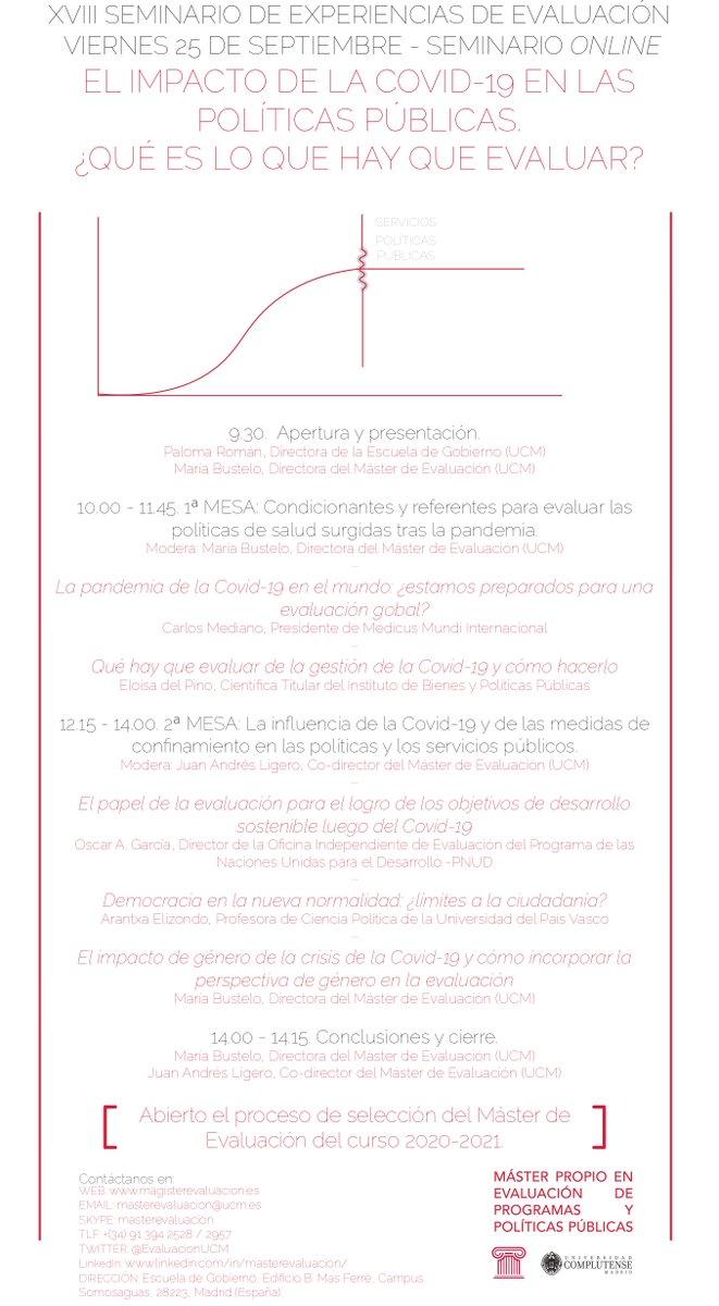 📣 Seminario de Interés | El impacto de la COVID-19 en las políticas públicas ¿Qué es lo que hay que evaluar? - XVIII Seminario de experiencias de evaluación 🗓️ 25 de septiembre (Online) 👥 @MariaBustelo1, @delPinoE, @aranelizondo 🔗 Inscripción: https://t.co/dGArisF4Pl https://t.co/JDWd16fHNZ