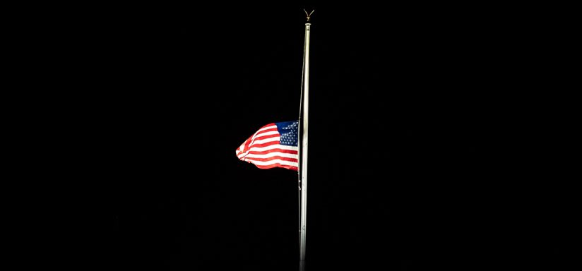 President @realDonaldTrump returns to the @WhiteHouse at 11:54pmE, where the flag has been lowered to half-staff, in memory of Justice Ruth Bader Ginsburg. #RIPRBG https://t.co/55P8PGpqOA