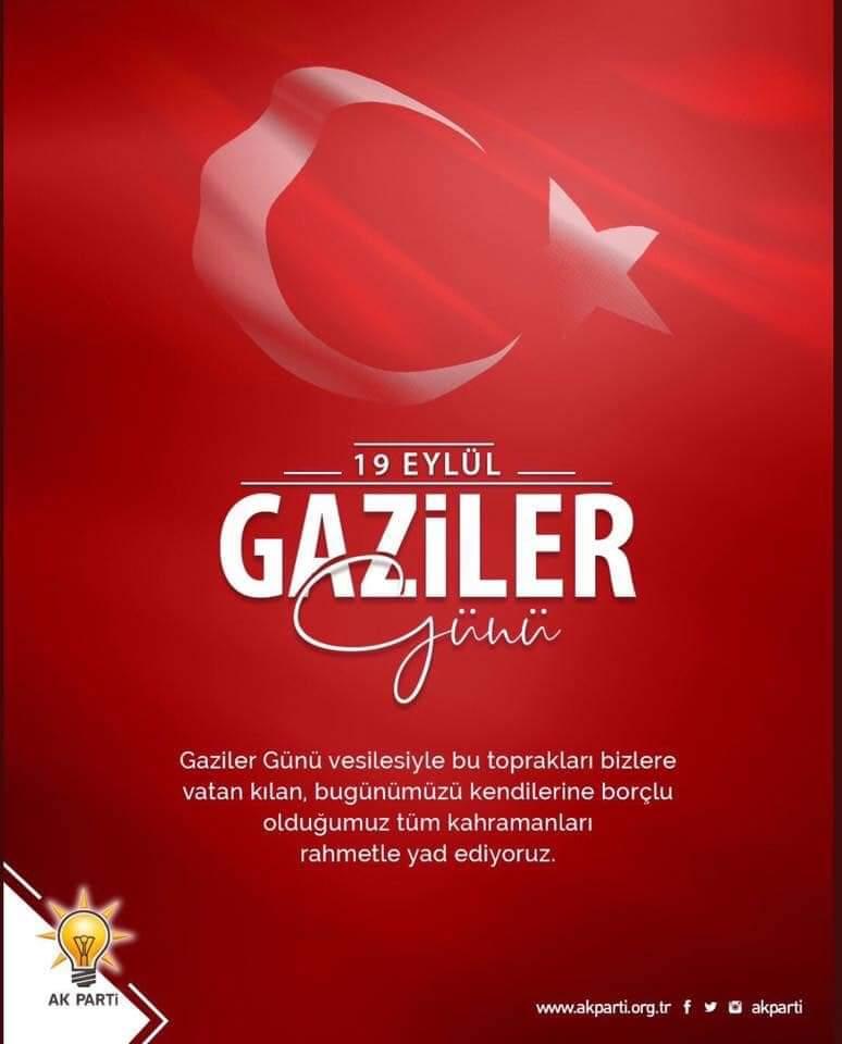 Vatanımız için hiç tereddüt etmeden canlarını ortaya koyan kahraman gazilerimizin 19 Eylül #GazilerGünü´ nü kutluyor; başta Gazi Mustafa Kemal Atatürk olmak üzere, ebediyete irtihal etmiş gazilerimizi rahmet ve minnetle anıyorum. https://t.co/1g8qca1v7x