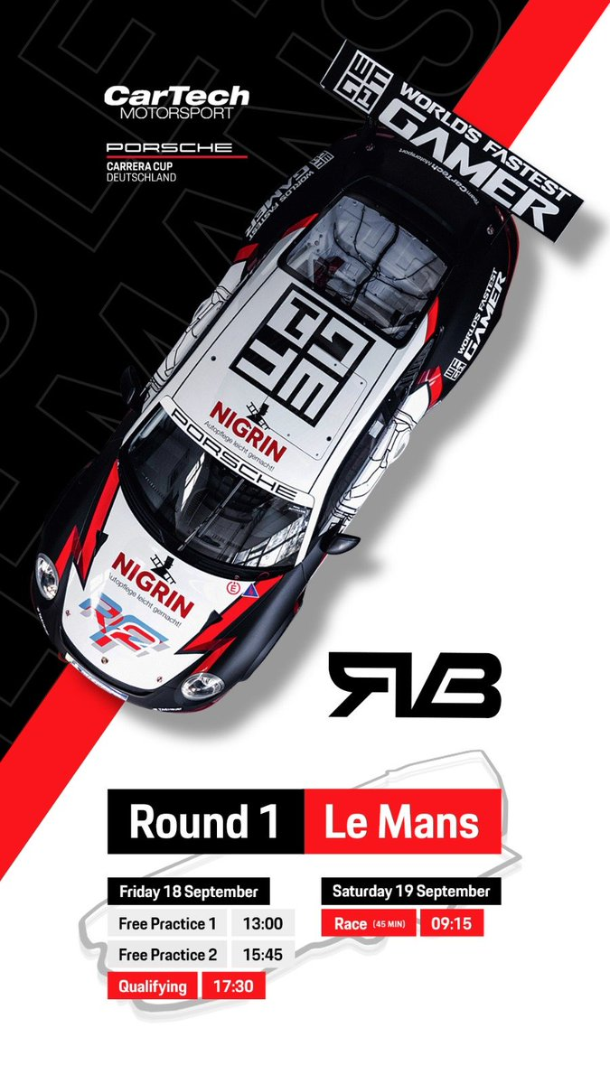 """Rudy - Set - GO! 🏁🏁🏁  Catch all the action live with @RvBuren starting from 5th place in the #porsche Carrera Cup Deutschland opening round in Le Mans!  Watch live from 9 am CET Here: https://t.co/n6wlvz58yi  #rfactor2 #lemans #motorsport"""" https://t.co/InnYbNP37A"""