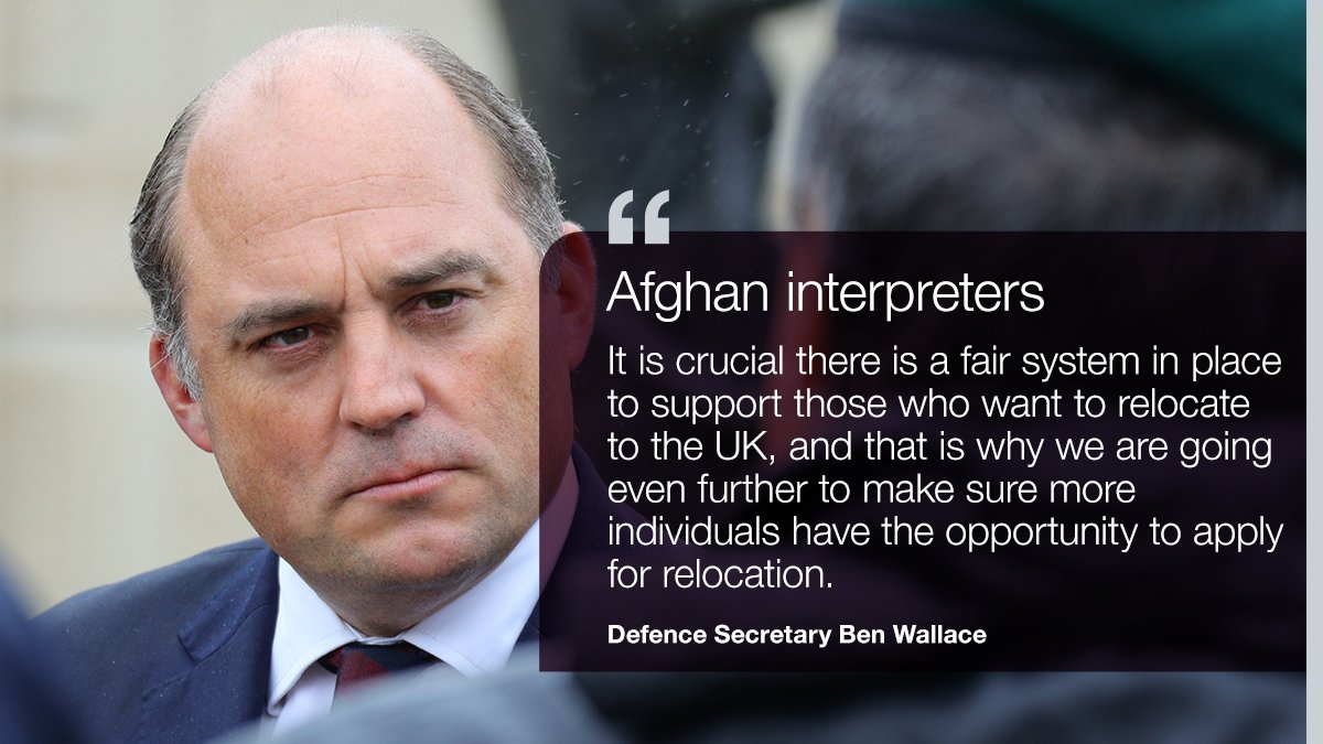 More Afghan interpreters who risked their lives supporting British troops will be able to move to the UK as part of an expanded relocation scheme:  https://t.co/PGlPW3aFbi https://t.co/wHdArCOpw2