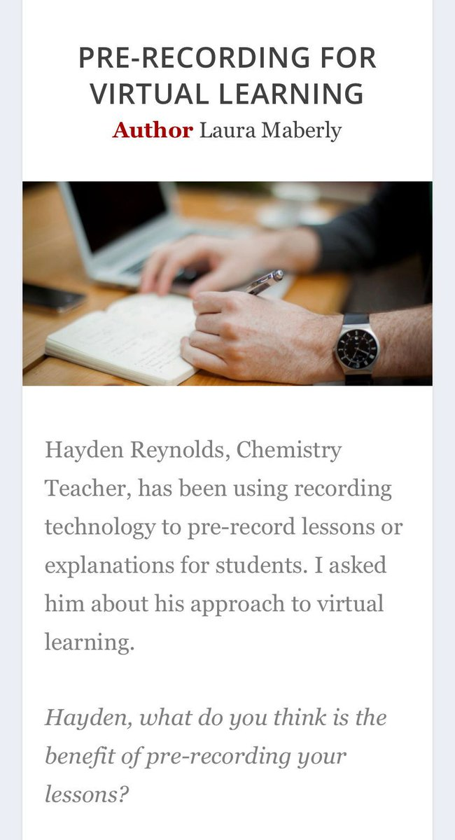 Pre-recorded explanations, live help. Read about how one Chemistry teacher at Sandringham approched remote learning #SLTchat @EdtechDemo #contingencyplanning https://t.co/nhxMBg0ayr