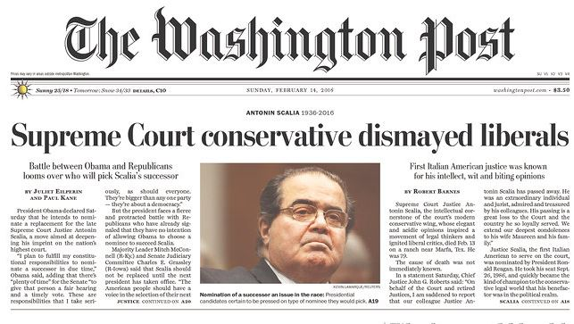 You want hypocritical media bias? Here's the @washingtonpost on Justice Scalia dying and the same paper on the death of Ginsburg. Seem slightly different? https://t.co/u44tlxNLEN