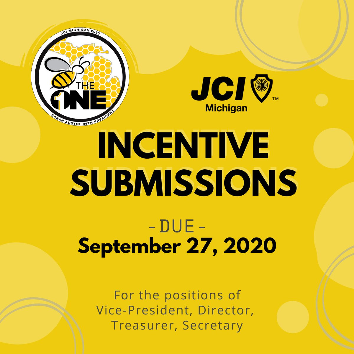 Local Chapter officers, it is your time to submit incentives from T2! Please get them in by September 27th to be eligible for awards!  https://t.co/IfUjucDYFn  #betheone #jcimi #jci #michigan #leadership https://t.co/oYhJ6kyJoj
