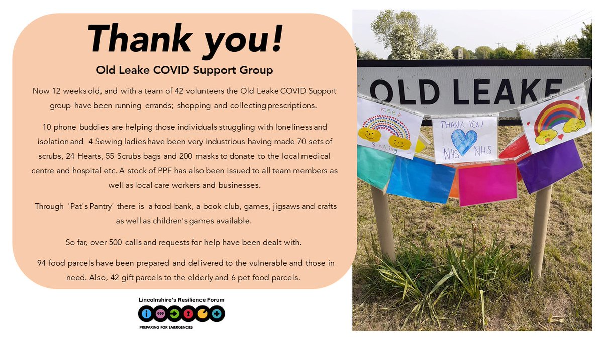 We would like to extend a big Thank You to everyone who has volunteered their time to help others during the Covid-19 pandemic, your support has been invaluable.   Today we'd like to celebrate the work done by Old Leake Covid Support Group https://t.co/2XvWT1j2RF