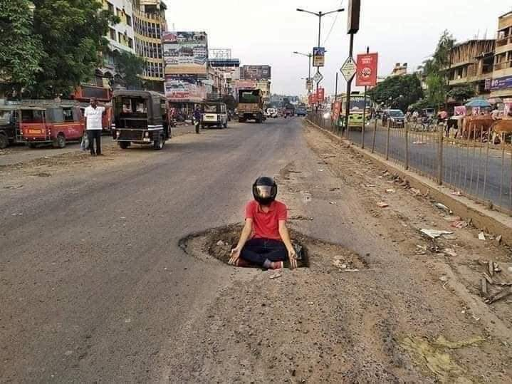 No helmet 1000₹ fine! What about the fine for officials who made such roads?? https://t.co/67INwbJFsP