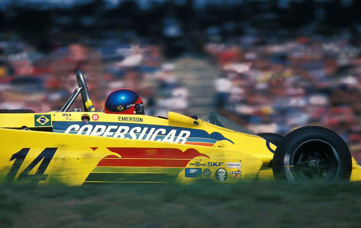 #AnorakFact: if you're wondering what #AuroraAFX car Bernard de Dryver is driving in the pic in my tweet above, it's an ex-Emerson Fittipaldi Copersucar F5A #F1 car. Here's Emmo in a works F5A at Hockenheim in '78.(2/2) https://t.co/v4S2ND4RIQ