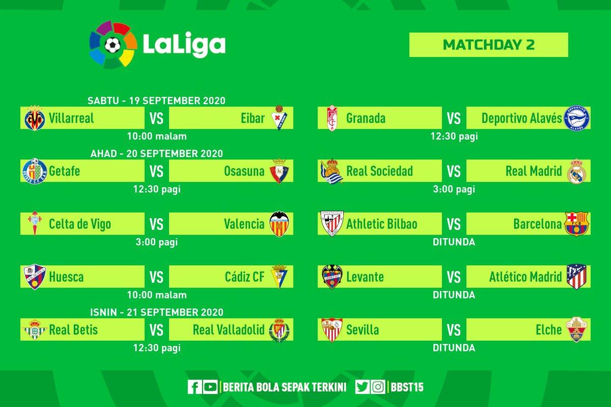Jadual perlawanan ke-2 #LaLiga 🇪🇸  Live di beIN Sports 📺 Villarreal vs Eibar Getafe vs Osasuna Celta vs Valencia Huesca vs Cádiz Real Betis vs Real Valladolid Real Sociedad vs Real Madrid https://t.co/mXuLD8Bx44