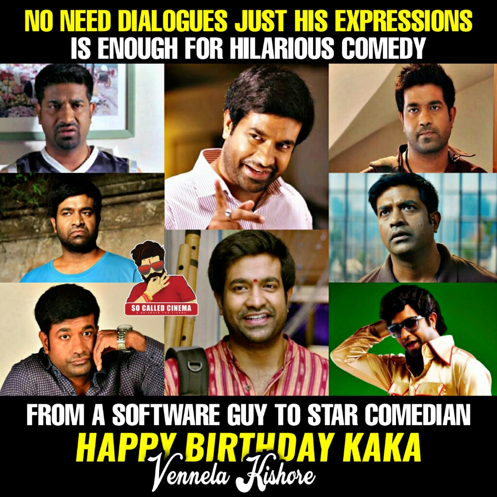 """From """" Vennela """" to """" V """" @vennelakishore made hilarious comedy.. His expressions loved by everyone. One of the best comedians in this young generation !!  #VennelaKishore #HappyBirthdayVennelaKishore #HBDVennelaKishore #SoCalledCinema https://t.co/rBXAnXRqyA"""