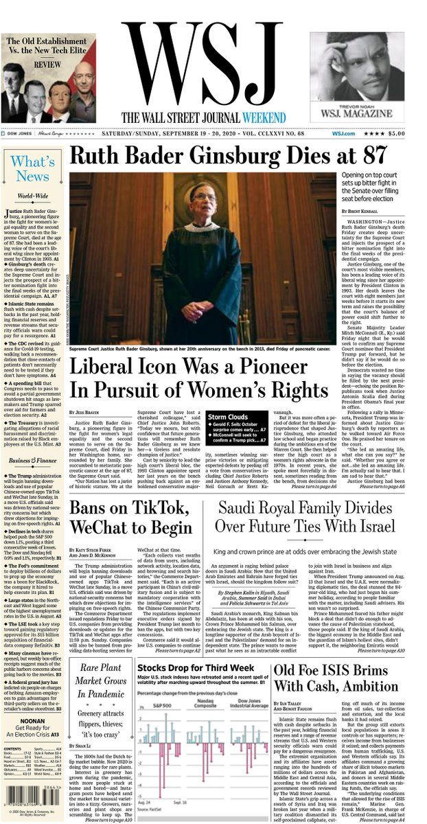 Here's a look at the front page of today's Wall Street Journal on.wsj.com/3ccdSC0