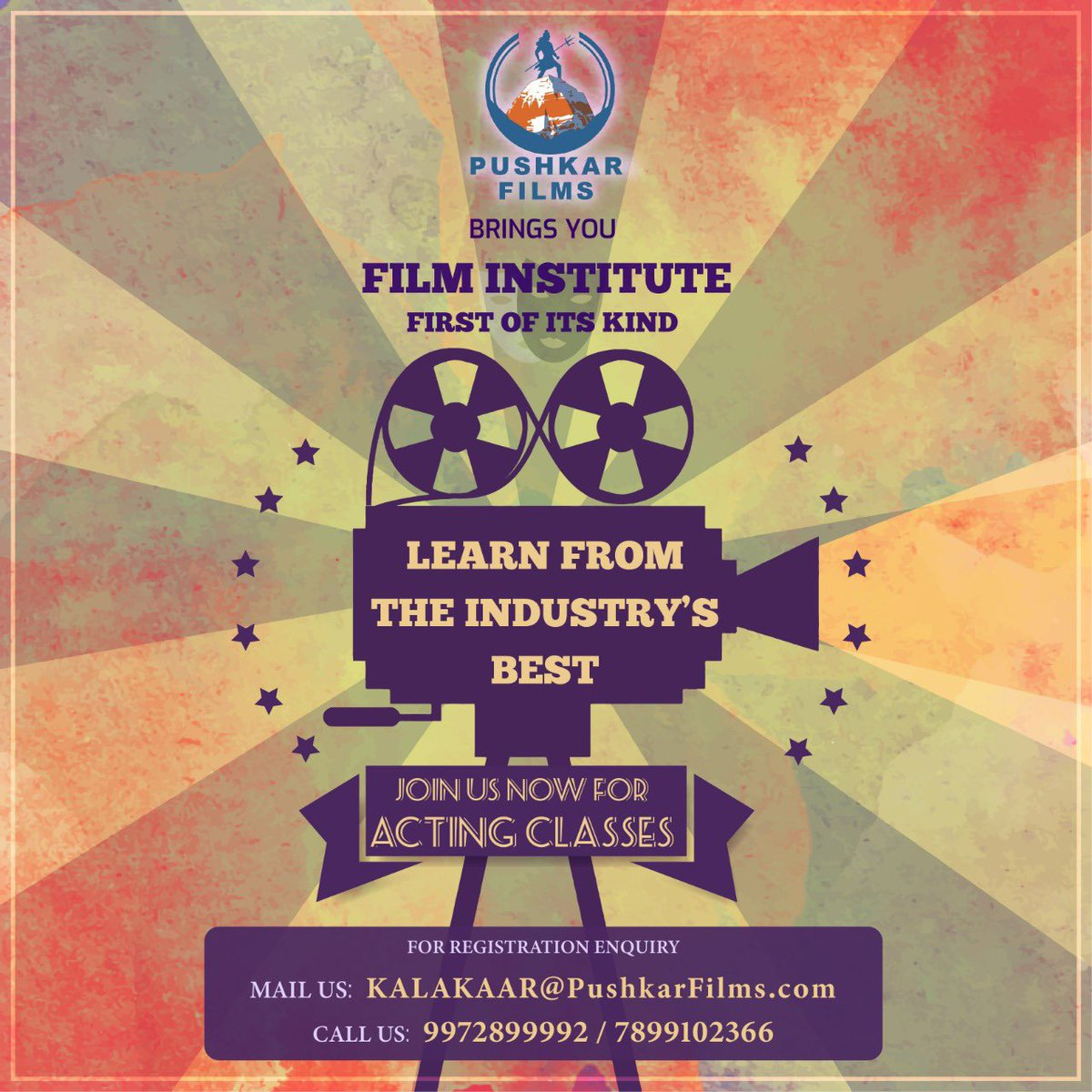 Here is your chance to gain holistic experience of acting and everything related to films, all under one roof. A film Institute which will hel your acting career take flight. So join us for a demo class on Saturday 20th September.   #PushkarFilms #filminstitute https://t.co/nmUyFY1iXd